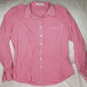 Ellen Tracy Long Sleeve Gingham Check Button Up